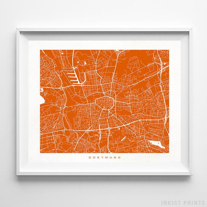 Dortmund, Germany Street Map Horizontal Print-Poster-Wall_Art-Home_Decor-Inkist_Prints