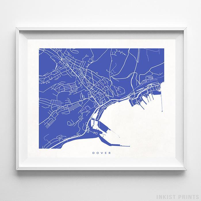 Dover, England Street Map Horizontal Print-Poster-Wall_Art-Home_Decor-Inkist_Prints