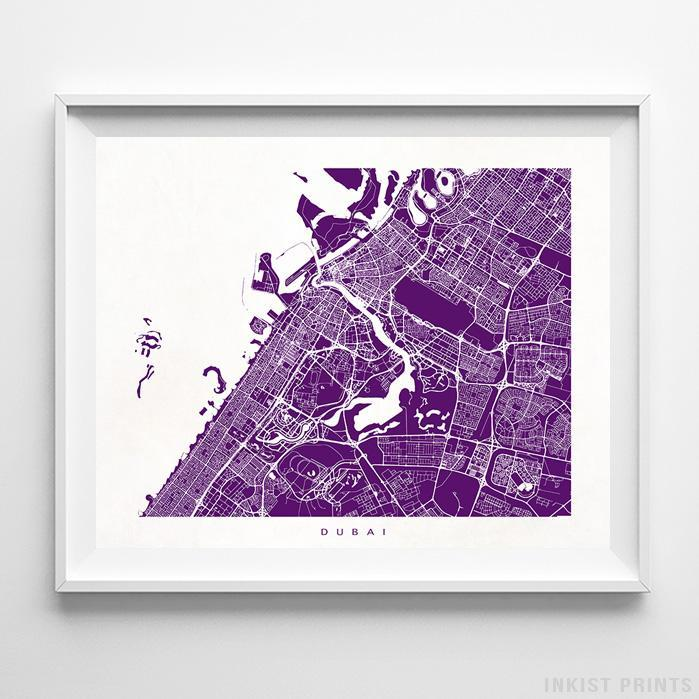 Dubai, United Arab Emirates Street Map Horizontal Print-Poster-Wall_Art-Home_Decor-Inkist_Prints