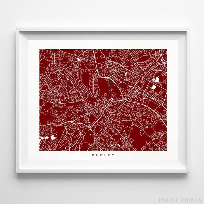 Dudley, England Street Map Horizontal Print-Poster-Wall_Art-Home_Decor-Inkist_Prints
