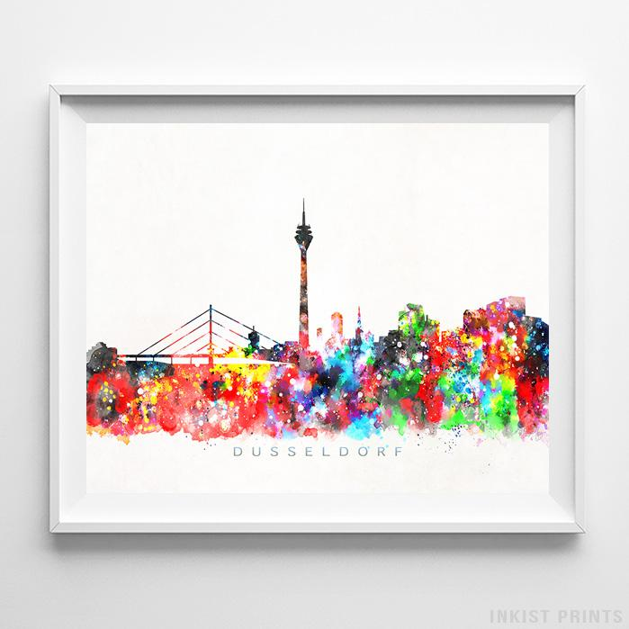 Dusseldorf, Germany Skyline Watercolor Print-Poster-Wall_Art-Home_Decor-Inkist_Prints