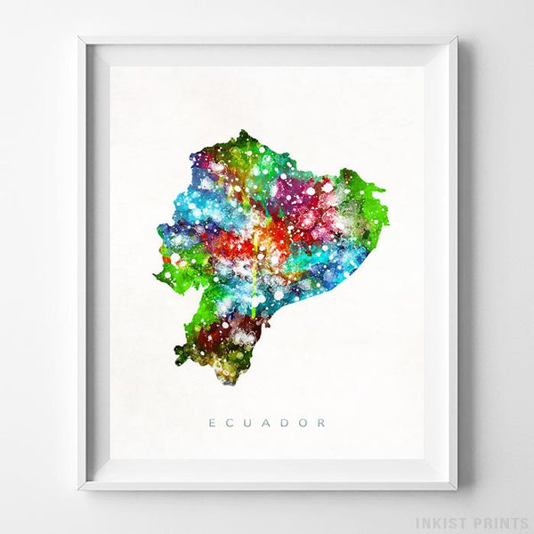 Ecuador Watercolor Map Print - Inkist Prints