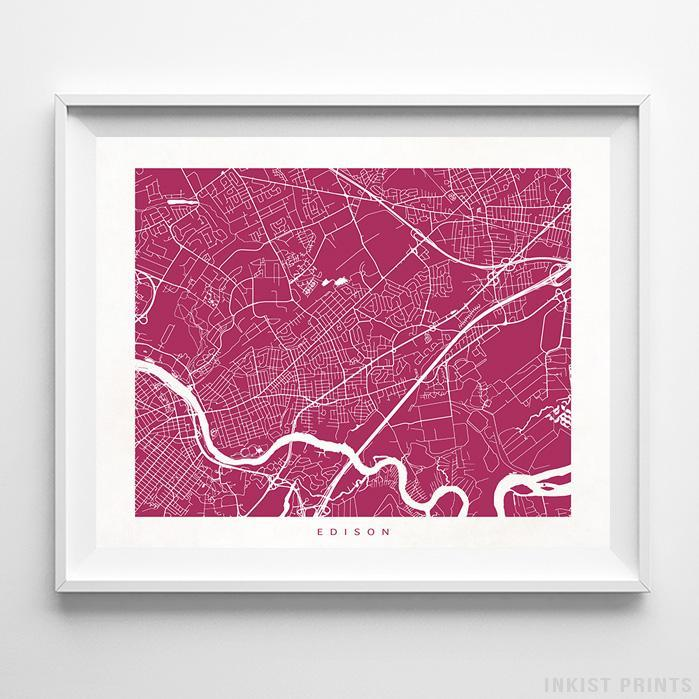 Edison, New Jersey Street Map Horizontal Print-Poster-Wall_Art-Home_Decor-Inkist_Prints