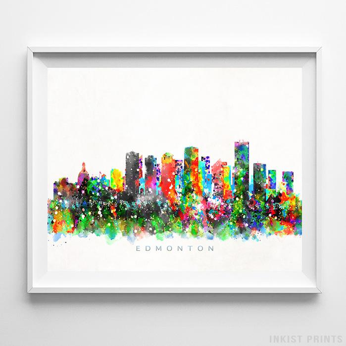 Edmonton canada skyline watercolor print inkist prints