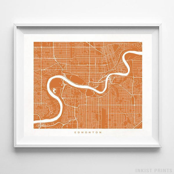 Edmonton, Canada Street Map Horizontal Print-Poster-Wall_Art-Home_Decor-Inkist_Prints