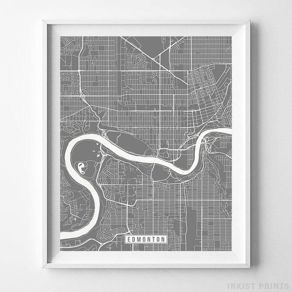 Edmonton, Canada Street Map Vertical Print-Poster-Wall_Art-Home_Decor-Inkist_Prints