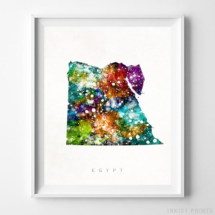 Egypt Watercolor Map Print-Poster-Wall_Art-Home_Decor-Inkist_Prints