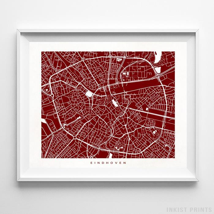 Eindhoven, The Netherlands Street Map Horizontal Print