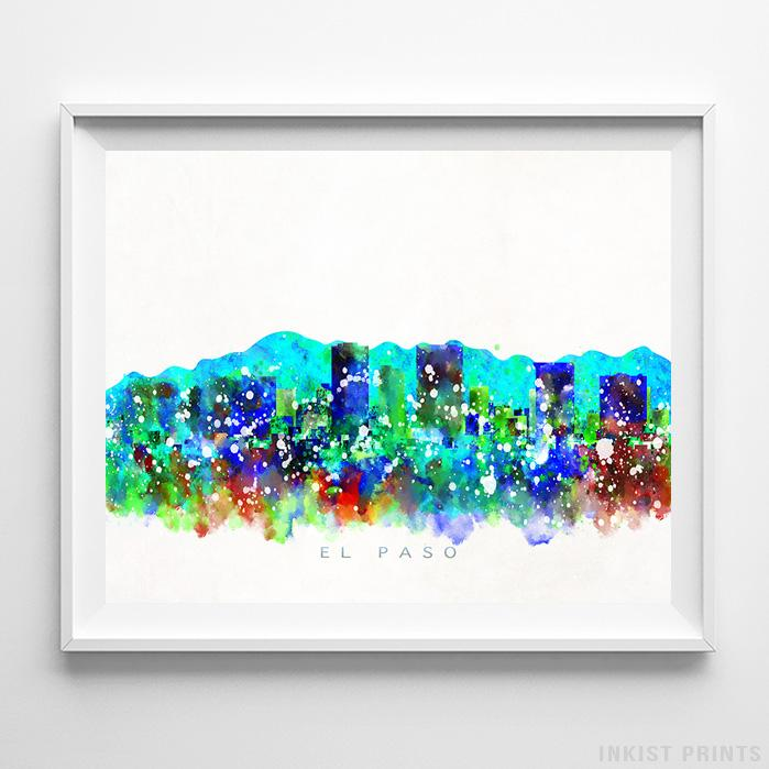 El Paso, Texas Skyline Watercolor Print - Inkist Prints