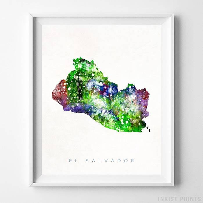 El Salvador Watercolor Map Print-Poster-Wall_Art-Home_Decor-Inkist_Prints