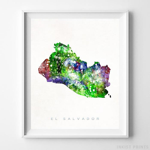 El Salvador Watercolor Map Print - Inkist Prints