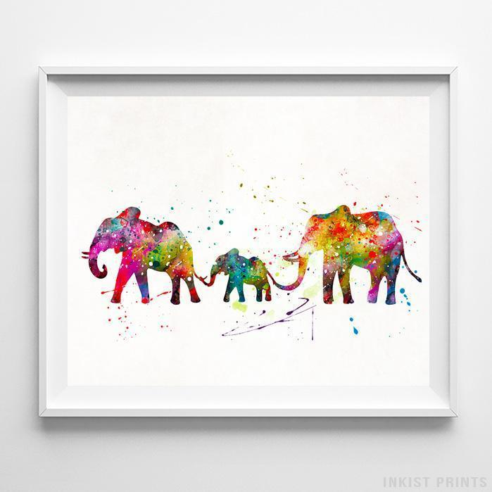 Elephants Type 2 Print-Poster-Wall_Art-Home_Decor-Inkist_Prints