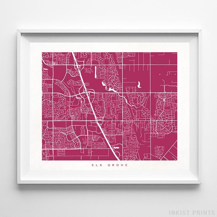 Elk Grove, California Street Map Print - Inkist Prints