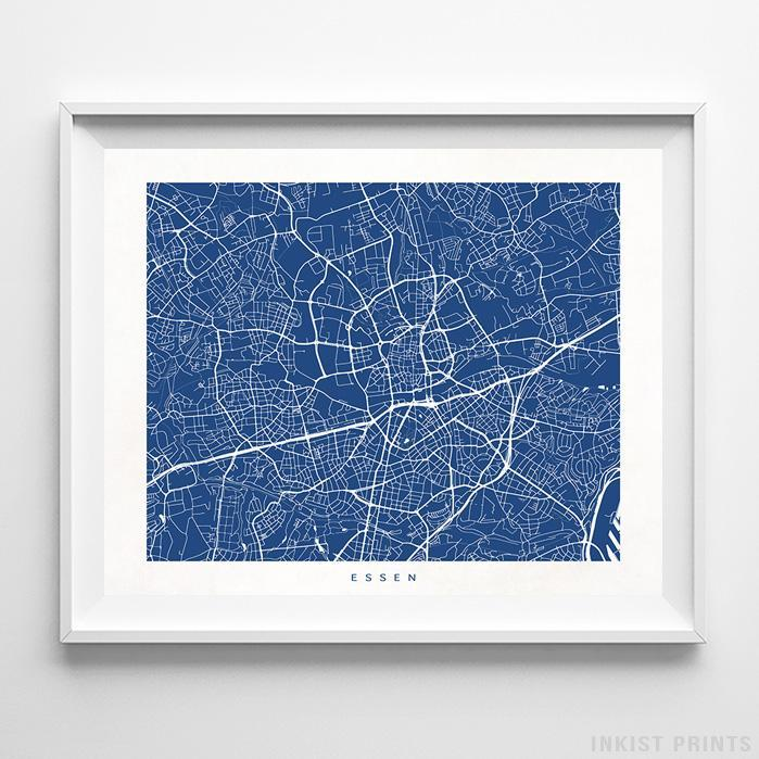 Essen, Germany Street Map Horizontal Print-Poster-Wall_Art-Home_Decor-Inkist_Prints
