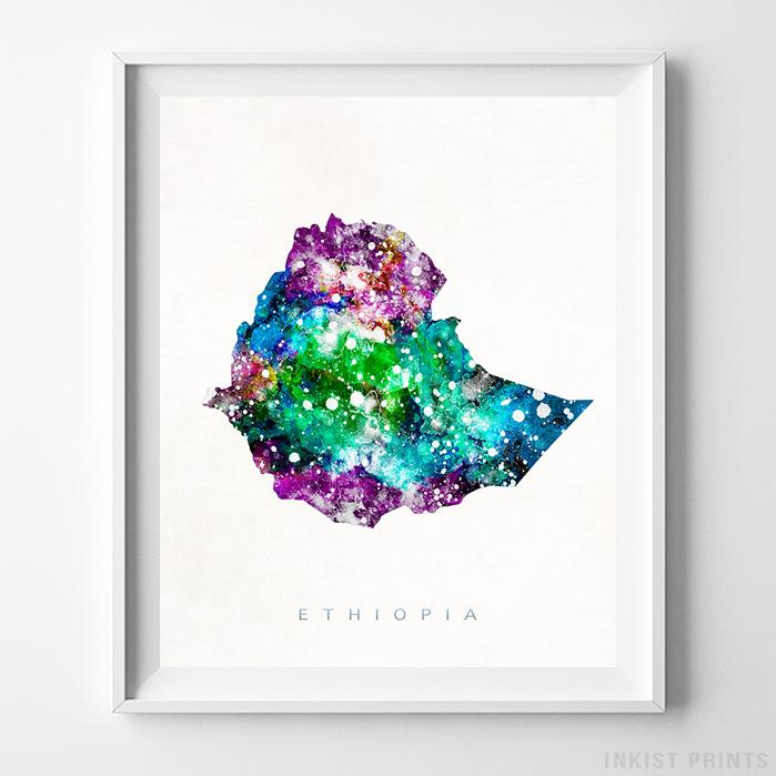 Ethiopia Watercolor Map Print-Poster-Wall_Art-Home_Decor-Inkist_Prints