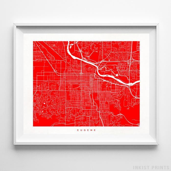Eugene, Oregon Street Map Horizontal Print-Poster-Wall_Art-Home_Decor-Inkist_Prints