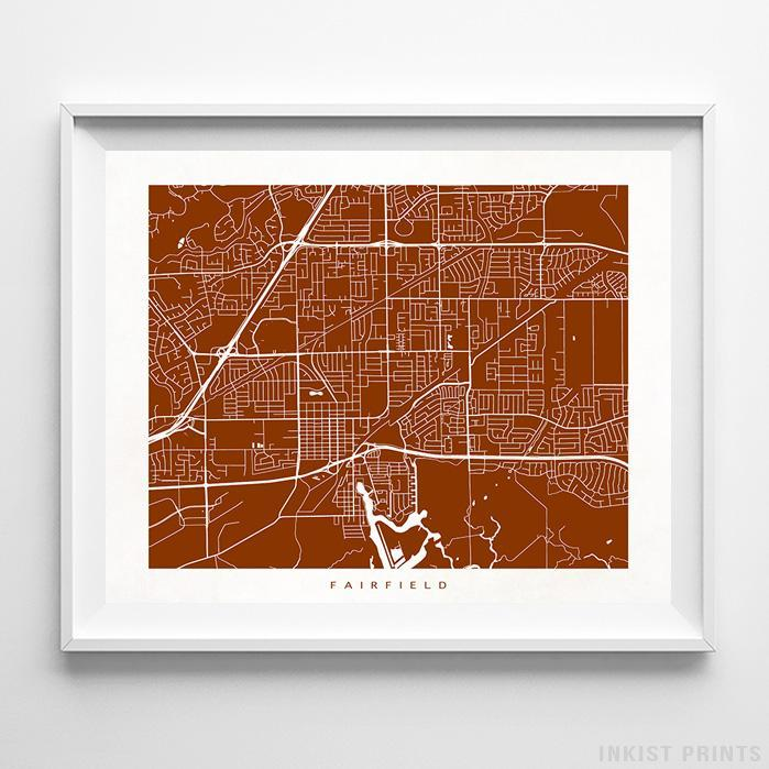 Fairfield, California Street Map Horizontal Print-Poster-Wall_Art-Home_Decor-Inkist_Prints
