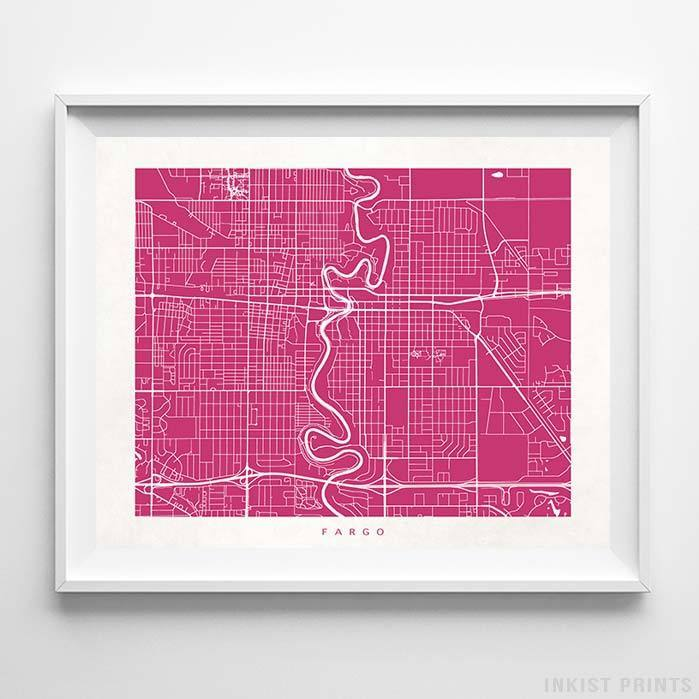 Fargo, North Dakota Street Map Print - Inkist Prints