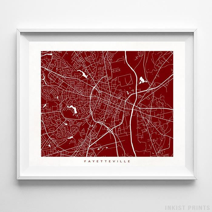 Fayetteville, North Carolina Street Map Horizontal Print-Poster-Wall_Art-Home_Decor-Inkist_Prints