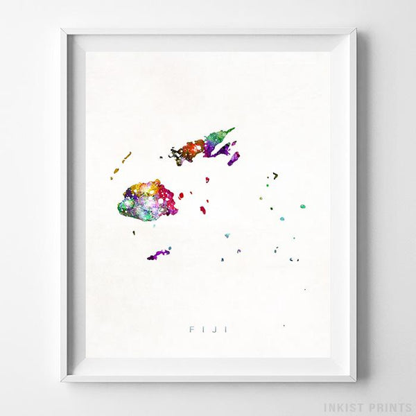 Fiji Watercolor Map Print - Inkist Prints