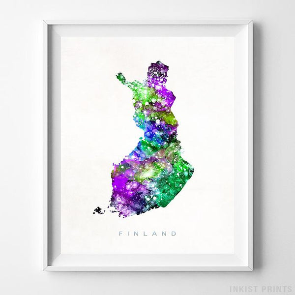 Finland Watercolor Map Print - Inkist Prints