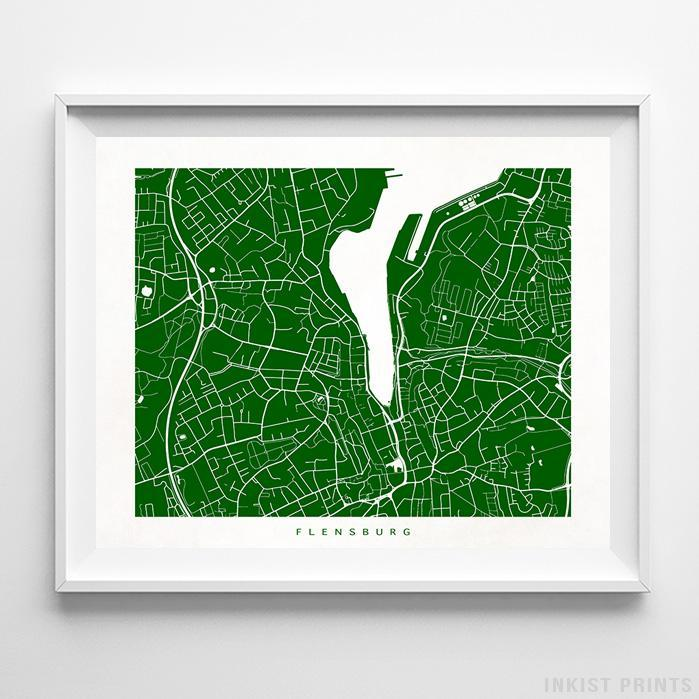 Flensburg, Germany Street Map Horizontal Print-Poster-Wall_Art-Home_Decor-Inkist_Prints