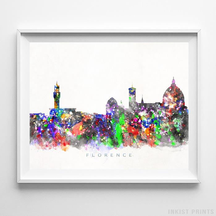 Florence, Italy Skyline Watercolor Print Wall Art Poster by Inkist Prints