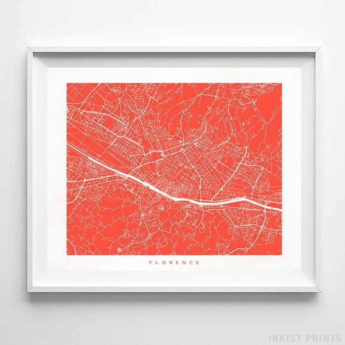 Florence, Italy Street Map Horizontal Print-Poster-Wall_Art-Home_Decor-Inkist_Prints