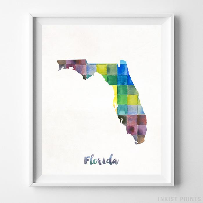 Florida Watercolor Map Print - Inkist Prints