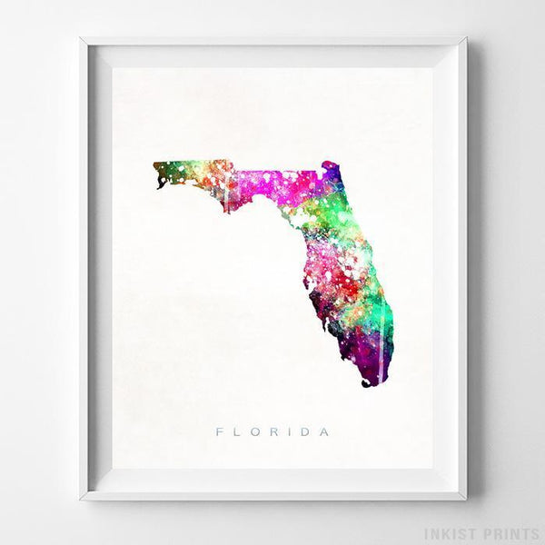 Florida Watercolor Map Print-Poster-Wall_Art-Home_Decor-Inkist_Prints