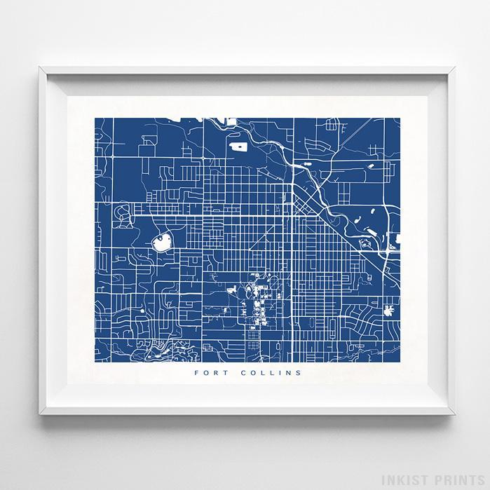 Fort Collins, Colorado Street Map Horizontal Print-Poster-Wall_Art-Home_Decor-Inkist_Prints