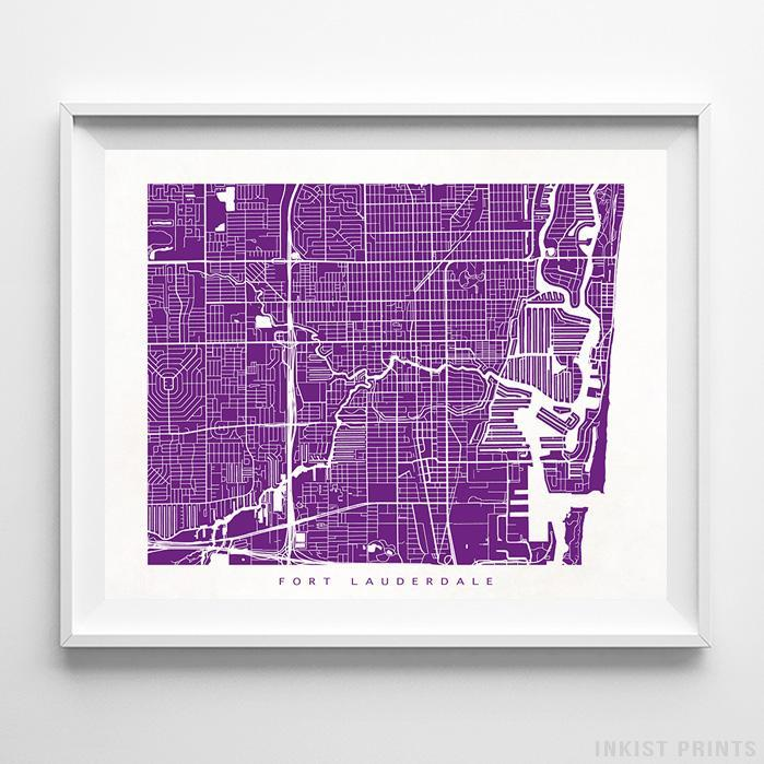 Fort Lauderdale, Florida Street Map Horizontal Print-Poster-Wall_Art-Home_Decor-Inkist_Prints