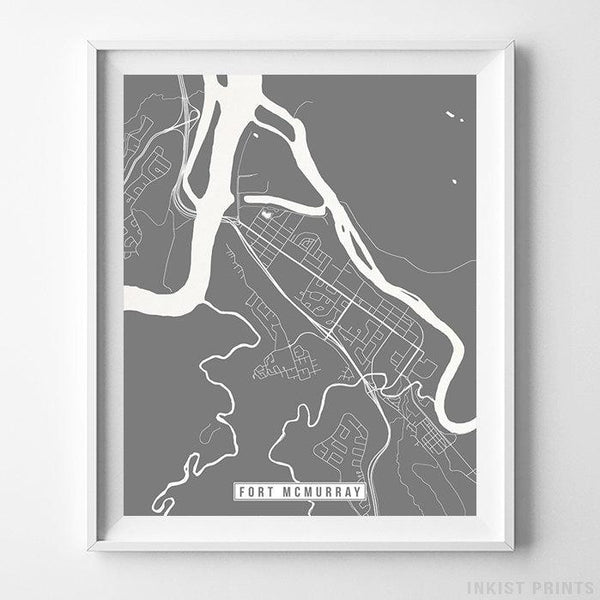 Fort McMurray, Canada Street Map Vertical Print-Poster-Wall_Art-Home_Decor-Inkist_Prints