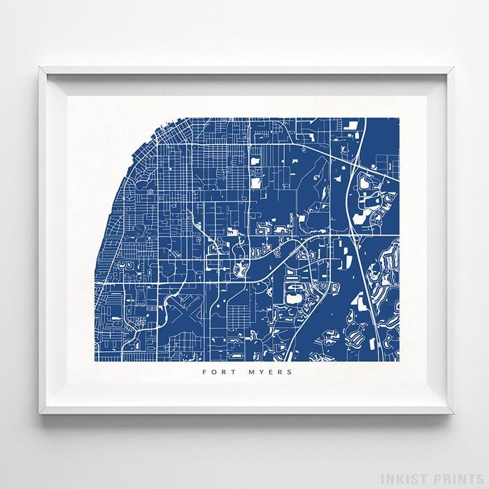 Fort Myers, Florida Street Map Horizontal Print-Poster-Wall_Art-Home_Decor-Inkist_Prints