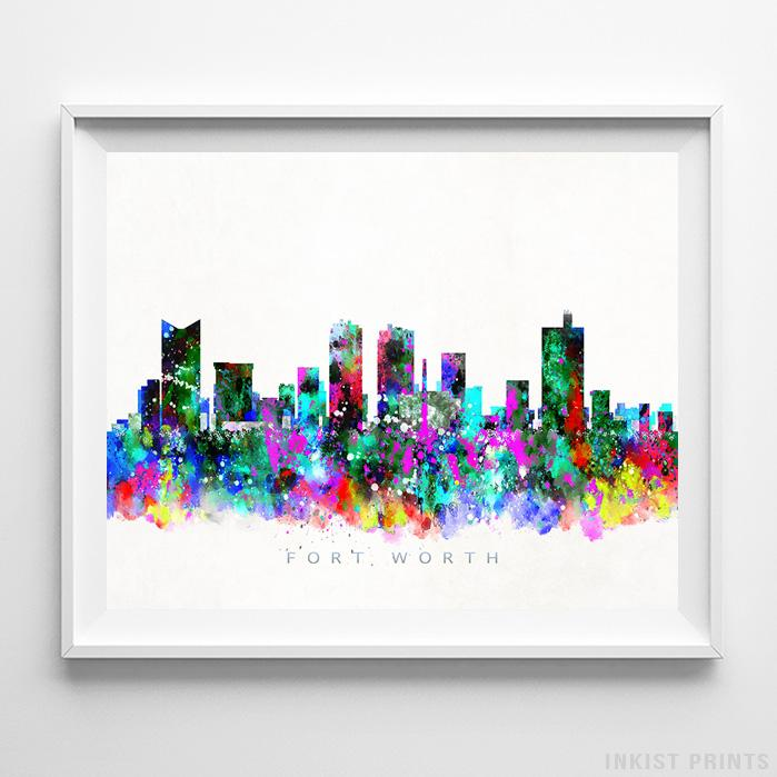 Fort Worth, Texas Skyline Watercolor Print - Inkist Prints