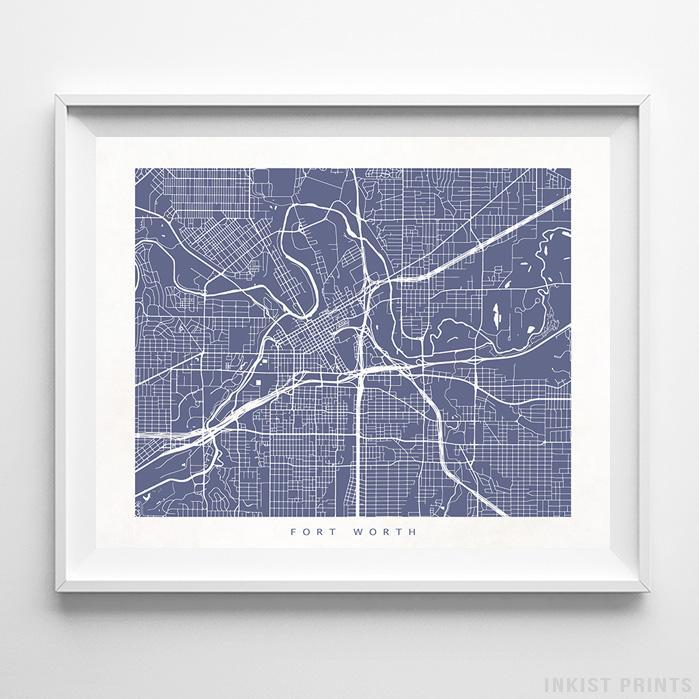 Fort Worth, Texas Street Map Horizontal Print-Poster-Wall_Art-Home_Decor-Inkist_Prints