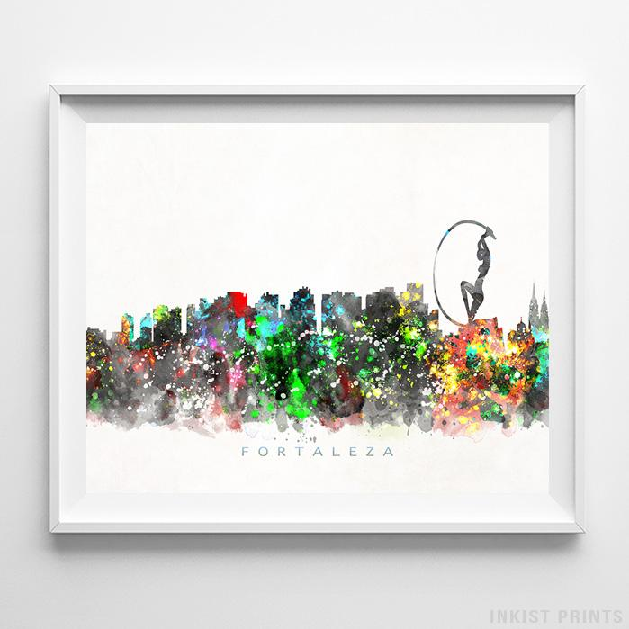 Fortaleza, Brazil Skyline Watercolor Print-Poster-Wall_Art-Home_Decor-Inkist_Prints