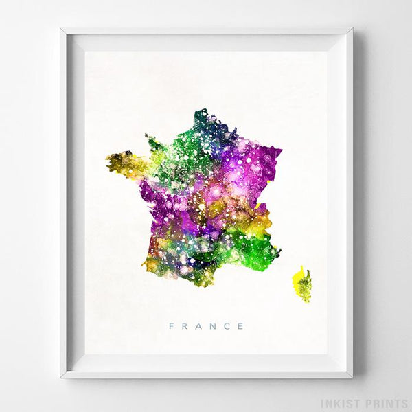 France Watercolor Map Print - Inkist Prints