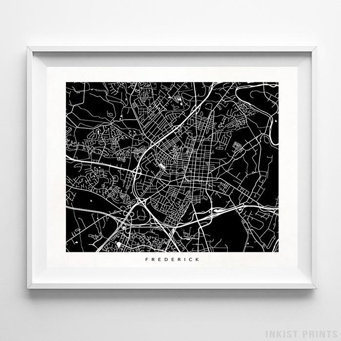 Frederick, Maryland Street Map Horizontal Print-Poster-Wall_Art-Home_Decor-Inkist_Prints
