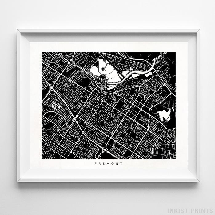 Fremont, California Street Map Horizontal Print-Poster-Wall_Art-Home_Decor-Inkist_Prints