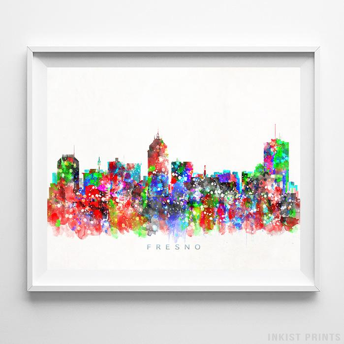 Fresno, California Skyline Watercolor Print-Poster-Wall_Art-Home_Decor-Inkist_Prints
