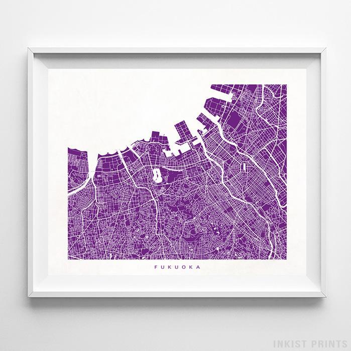 Fukuoka, Japan Street Map Horizontal Print-Poster-Wall_Art-Home_Decor-Inkist_Prints