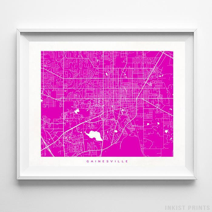 Gainesville, Florida Street Map Horizontal Print-Poster-Wall_Art-Home_Decor-Inkist_Prints