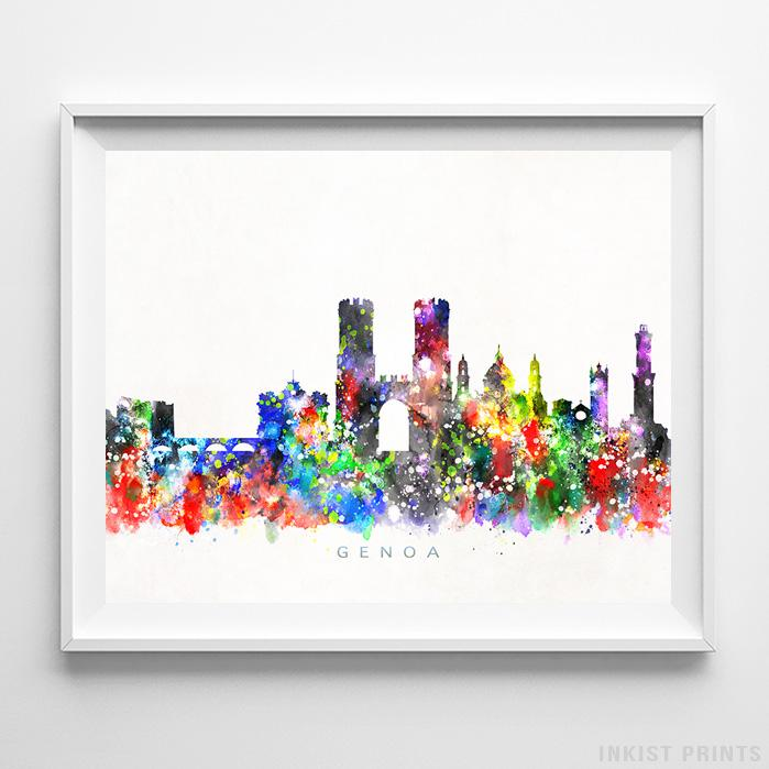Genoa, Italy Skyline Watercolor Print-Poster-Wall_Art-Home_Decor-Inkist_Prints