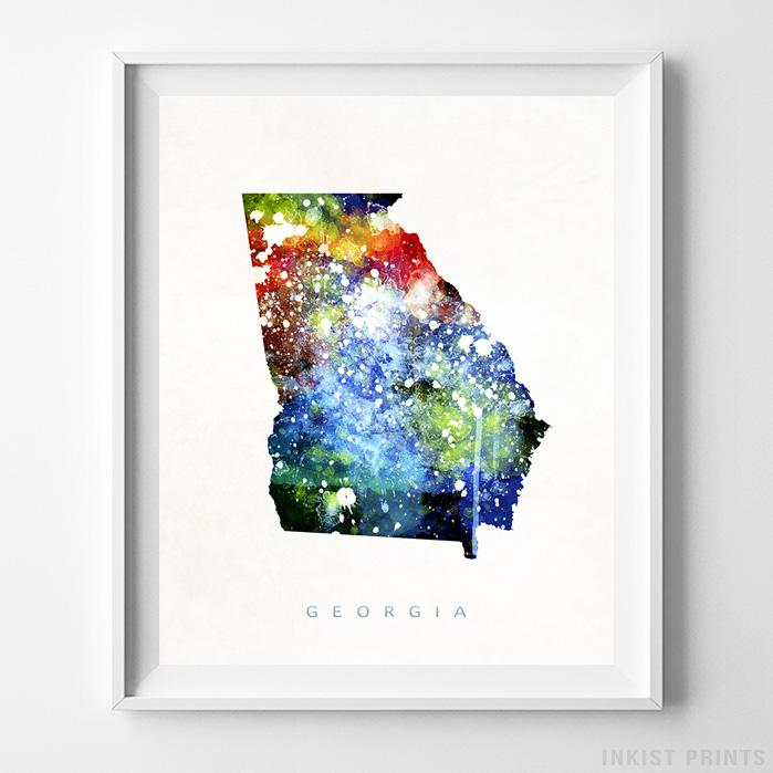Georgia Watercolor Map Print-Poster-Wall_Art-Home_Decor-Inkist_Prints