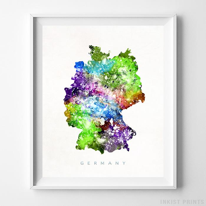 Map Of Germany To Print.Germany Watercolor Map Print