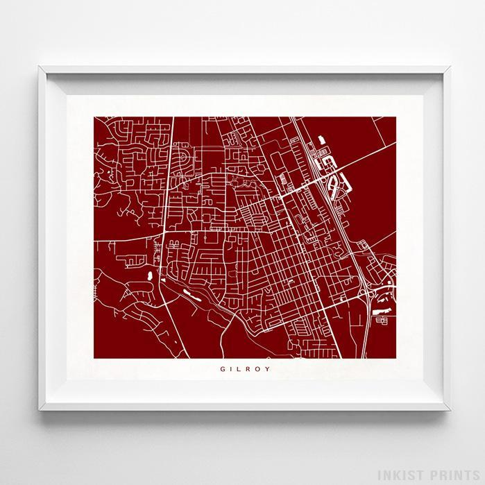 Gilroy, California Street Map Horizontal Print-Poster-Wall_Art-Home_Decor-Inkist_Prints