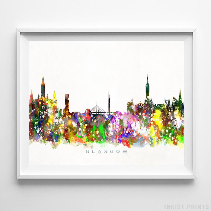 Glasgow, Scotland Skyline Watercolor Print-Poster-Wall_Art-Home_Decor-Inkist_Prints