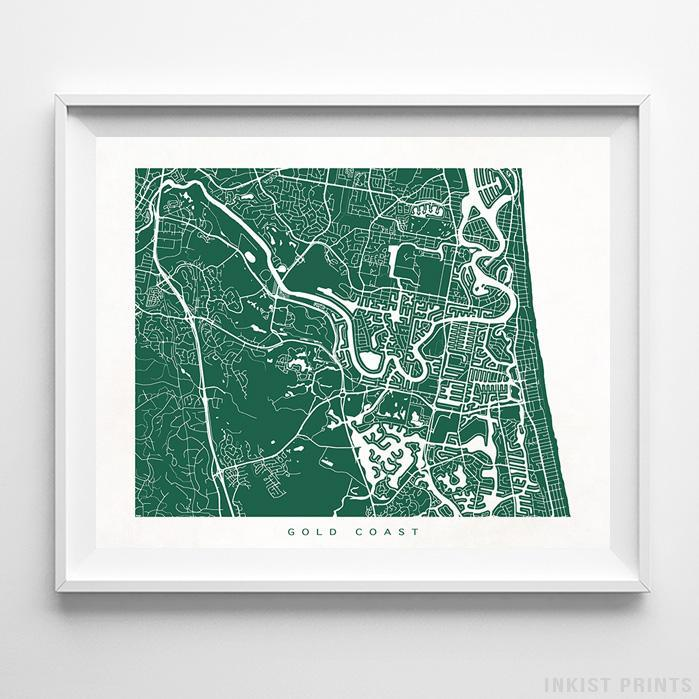 Gold Coast, Australia Street Map Horizontal Print-Poster-Wall_Art-Home_Decor-Inkist_Prints