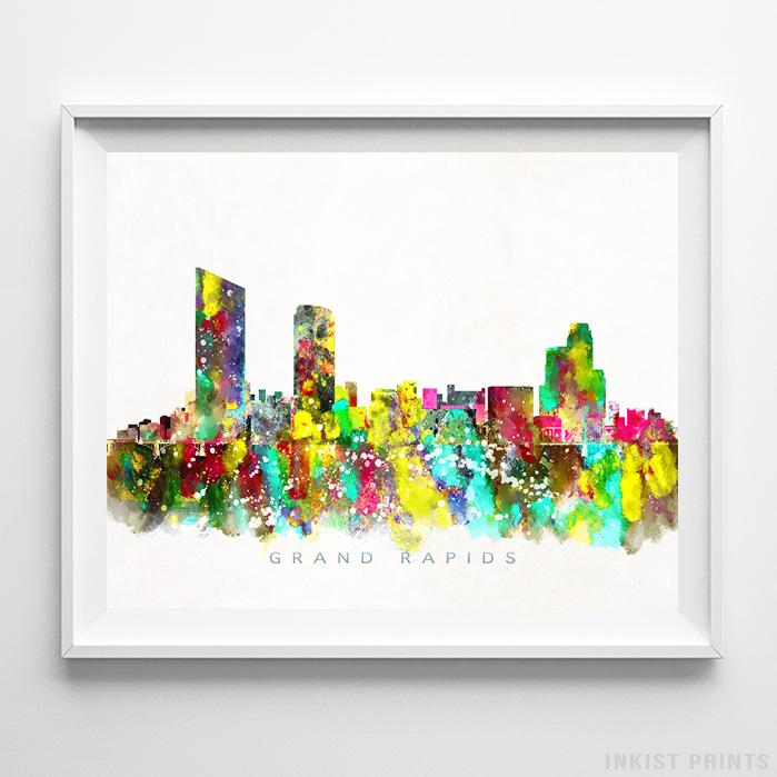 Grand Rapids, Michigan Skyline Watercolor Print-Poster-Wall_Art-Home_Decor-Inkist_Prints